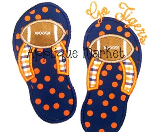 Machine Embroidery Design Applique Flip Flops Football INSTANT DOWNLOAD