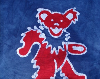 The Grateful Dead Jerry Garcia Dancing Bear Batik Tee Shirt for Adults CUSTOM made