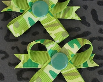 Camo Green Snap N Go Dog Hair Bows - Set of 2 or Custom Single