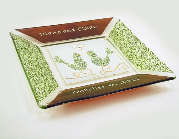 Wedding plate - Hand painted customized and personalized  plate - Glossy brown and green lacy borders and birds