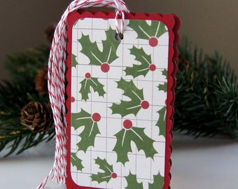 Holly Berry Christmas Tags or  Package Labels (Qty. 6)