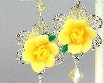 Yellow flower earrings, romantic silver filigree, lemon floral polymer clay drops, buttercup, jonquil Swarovski crystal