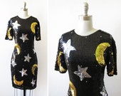 vintage star and moon sequin dress / 1980s black sequin dress / 80s glam party dress