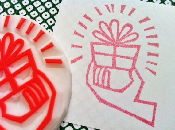 for you rubber stamp. present hand carved rubber stamp. birthday christmas wedding scrapbooking. gift wrapping. holiday crafts