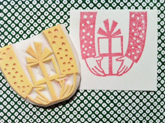 for you stamp. gift box stamp. gift box hand carved rubber stamp. diy birthday/christmas. gift wrapping/gift tag making/craft projects