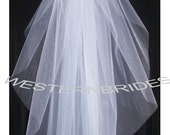 Color of your choice SHEER ELEGANT i tier WEDDING Bridal veil. Elbow lenght with silver comb ready to wear