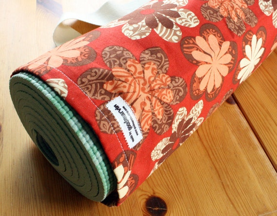 Yoga Bag in Red, Orange, and Brown Pinwheel Flowers READY to SHIP