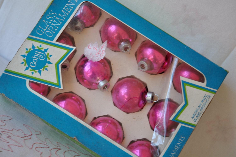 Coby Glass Christmas Tree Ornaments : Fuschia pink vintage s christmas tree ornaments coby glass