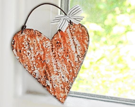 Antique Metal Heart Pumpkin Orange Wall Decor Home Accents Ralph Lauren Vintage Fabric Bow Door Decorations