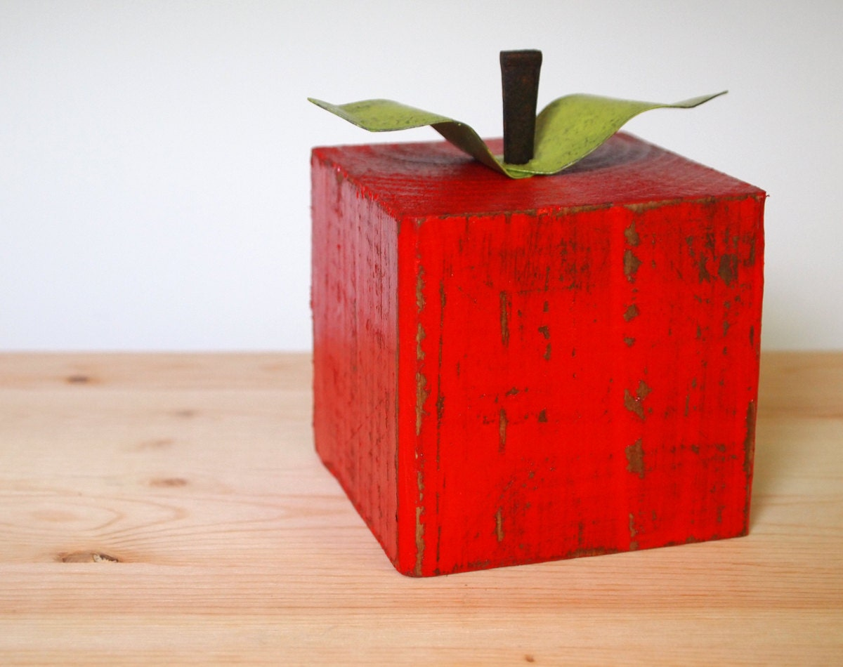 Block red apple primitive eco friendly home office decor wood for Apple home decoration