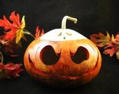 Halloween Gourd Scary Pumpkin Candy Dish  and Ghost Lid Trick Or Treat Decoration