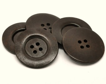 """Extra large big button - 2 dark brown giant wooden buttons 60mm (2 3/8"""")  #BB161A"""