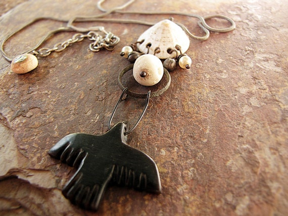crow moon - artisan assemblage jewelry - horn crow pendant - rustic tribal