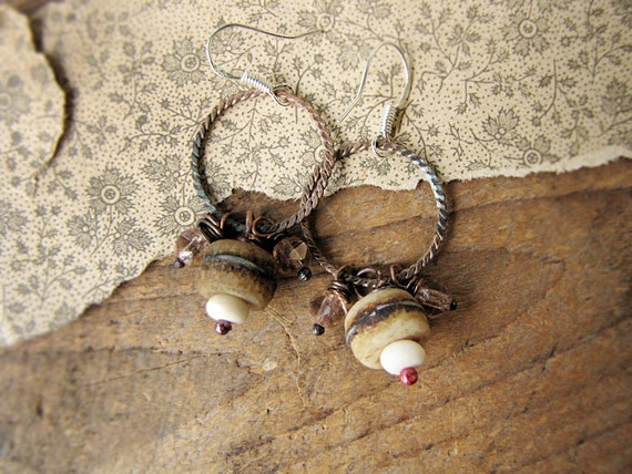 cradle of life - romantic rustic earrings - vintage metal bone and Czech glass - primitive artisan jewelry