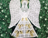 Gold Trimmed Heather Lace Angel Tree Topper