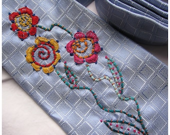 Hand Embroidered Flowers on a Upcycled Necktie