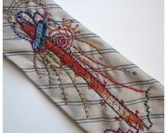Fabulous Utility Pole Hand Embroidered Tie