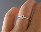Custom Initial Ring, Stack Ring, Midi Ring, Sterling Silver, Brass, Or Copper Initial Ring, Choice Of 1 Personalized Ring