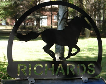 Mustang Horse MAILBOX TOPPER Metal Address Sign Equine Ranch Plaque Farm