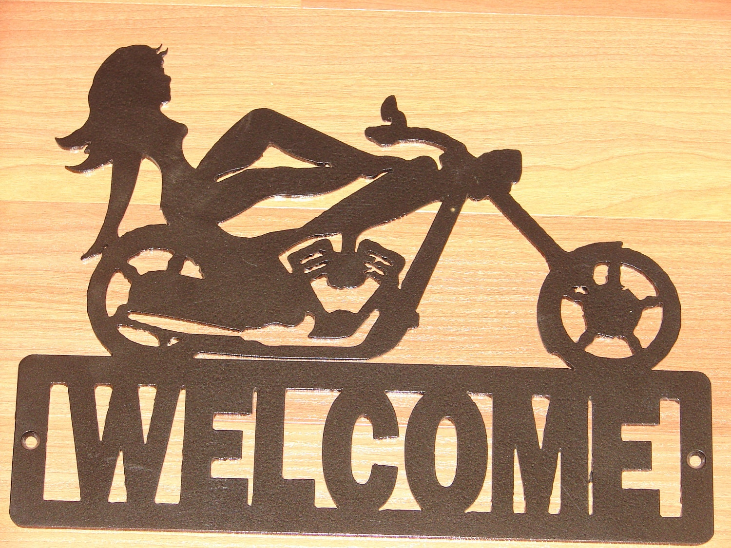 Chopper motorcycle welcome sign home decor wall harley for Motorcycle decorations home
