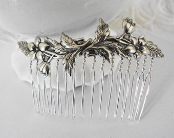 FREE SHIPPING Dainty Silver Daisy Blossom Comb Wedding Bridal Brides Flowers Special Occasion Hair Victorian Old Hollywood Regency Style