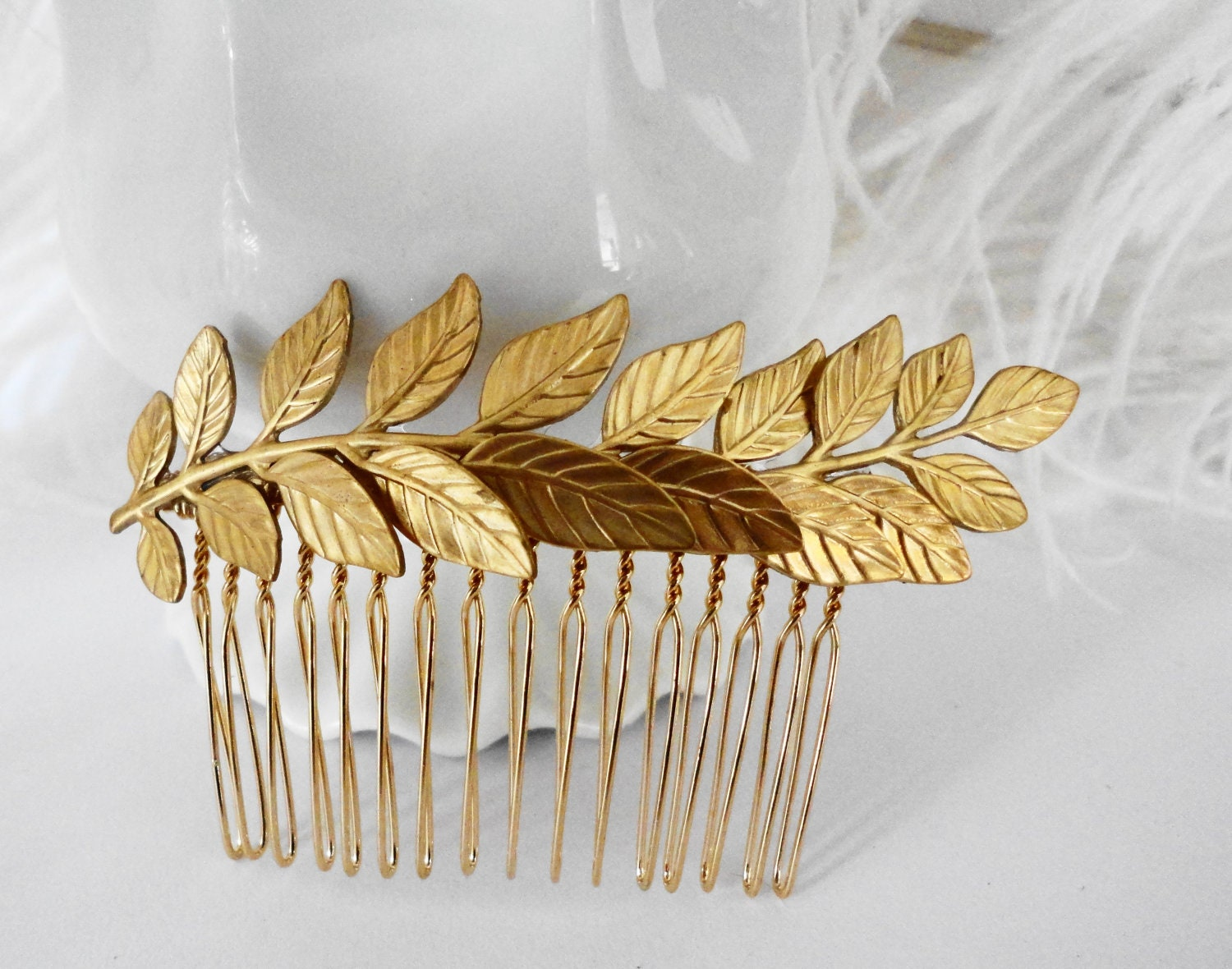 free shipping bridal hair comb gold leaf branch fern