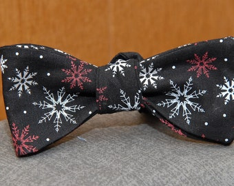 Silver, Red and Gray Flakes on Black  Bow Tie