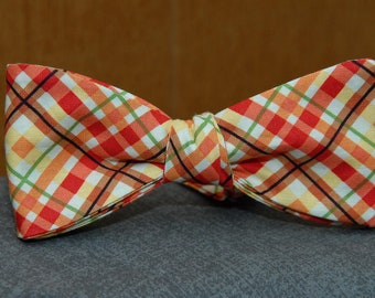 Orange, Green Yellow Plaid  Bow Tie