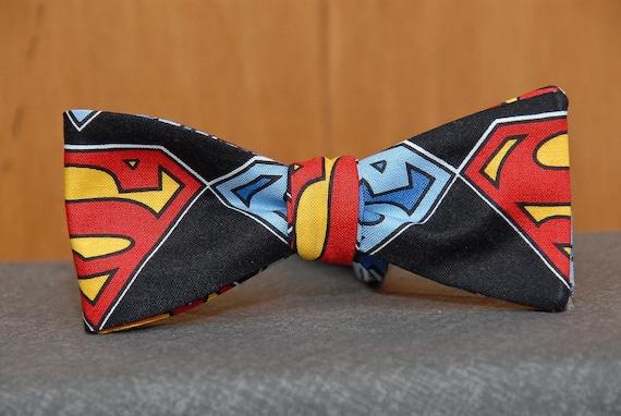 Big Superman Shield on Black Bow tie
