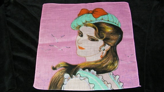 "Vintage Unused 11.5"" Novelty Lovely Brunette Lady in a Bowed Beret Hat Handkerchief, 7687"