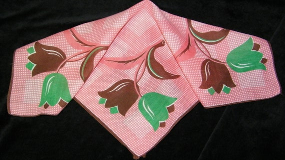 "Vintage 12"" 1940's Brown, Green, Pink Tulips Floral Blank Center Wedding Handkerchief, 7717"