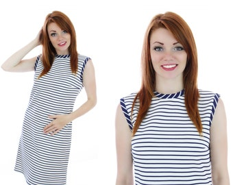 60s Sailor Dress Mod Navy Blue White Stripes Nautical Vintage 1960s 70s 1970s Medium M Small S