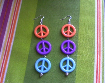 Tri Color Peace sign earrings