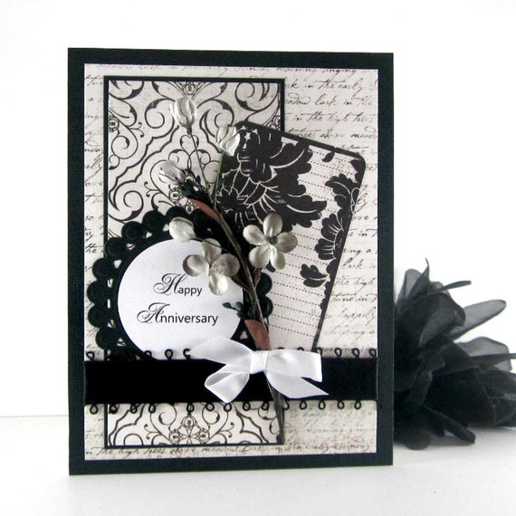 Elegant Anniversary card, Congratulations to a special couple, floral black and white