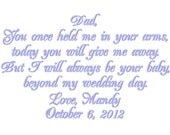 Father of the Bride Handkerchief/Hankie Wedding Customized by PamsEmbroidery Gift Envelope Included