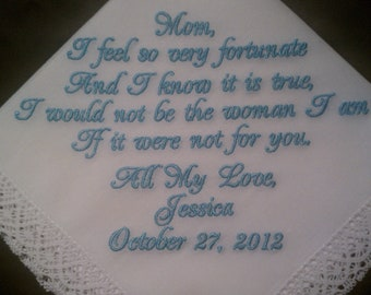 Mother of the Bride Handkerchief/Hankie Wedding Customized by PamsEmbroidery Gift Envelope Included