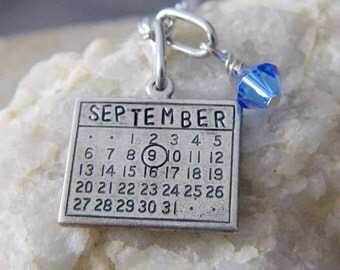 Calendar Necklace Personalized with Month and Birthstone Crystal