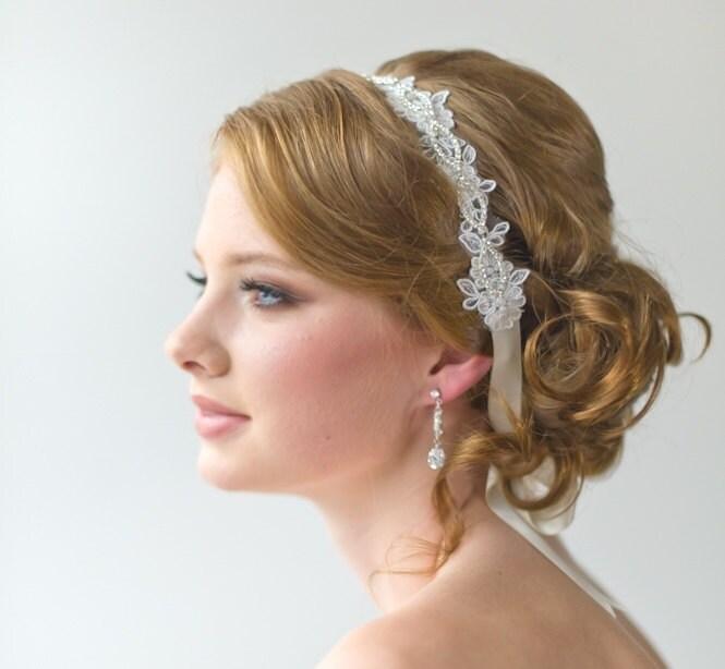 bridal ribbon headband bridal lace headband luxe satin