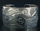 Salmon Life Cycle Northwest Coast Native Sterling Silver Cuff