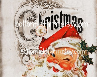 Retro Santa on Christmas Sign Digital Sheet C-392A Large 6 X 7  for Gift Bags, Decoupage, Iron ons