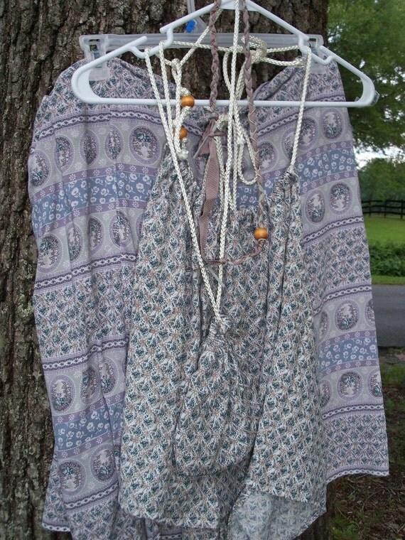 Boho Ensemble Plus Size 2 Or 3X Halter & Skirt With Amulet Bag Necklace HeadBand Four Piece Ensemble Show Rags Festival Garb