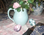 SALE-A vintage aqua or light. mint green-Rebecca Moses pottery pitcher for your vintage cottage home.