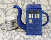 Seconds Sale: TARDIS Teapot with small surface cracks - Ready to Ship