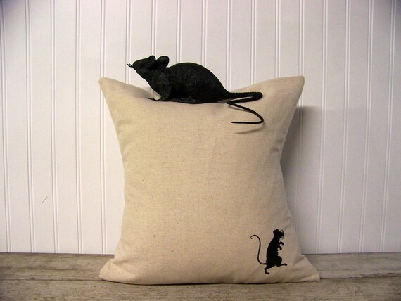 rat silhouette pillow cover / halloween home decor / black / halloween pillow / decoration /rat pillow / black rat / sneaky rat