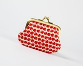 Mummy purse - Chibi appels in red - metal frame pouch