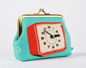 Metal frame change purse - Clocks in coral and blue - deep dad / Melody Miller / Japanese fabric / Turquoise light red black / Retro
