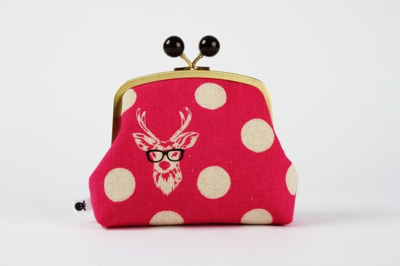 Color bobble pouch - Buck in pink - metal frame clutch bag