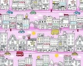 Tiny Town Mini Doodled Big City Fabric on Pink by Timeless Treasures - 1 yard
