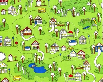 Tiny Town Mini Doodled Town Fabric on Green by Timeless Treasures - 1 yard