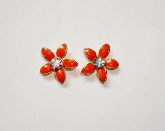 Gorgeous Orange Flower & Clear Crystal Stud Earrings